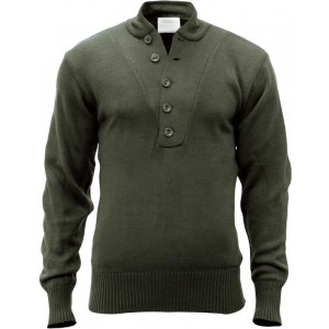Olive Drab Military Acrylic 5 Button Style Tactical Sweater