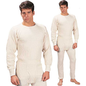 White Extra Heavyweight Thermal Knit Underwear Top