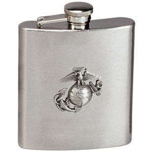 Silver USMC Logo Stainless Steel Flask