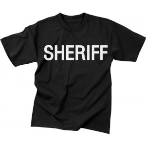 Black Law Enforcement Sheriff 2 Sided Short Sleeve T-Shirt