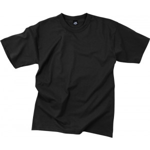 Black Poly/Cotton Plain Solid Military T-Shirt