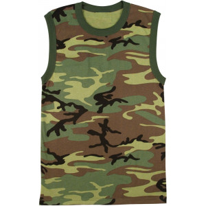 Woodland Camouflage Military Athletic Muscle Shirt with Rib Trim Crew Neck