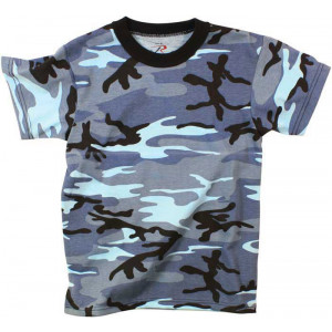 Sky Blue Camouflage Kids Military Tactical T-Shirt