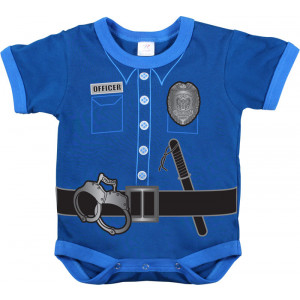 Navy Blue Infant Police Officer Uniform One Piece Bodysuit