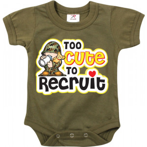 Olive Drab Infant Too Cute To Recruit One Piece Bodysuit
