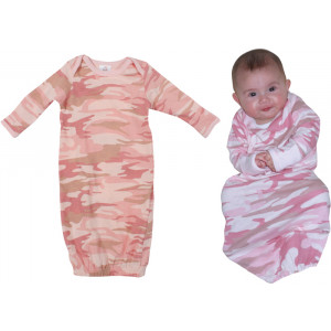 Baby Pink Camouflage Infant Long Sleeve One Piece Sleeper