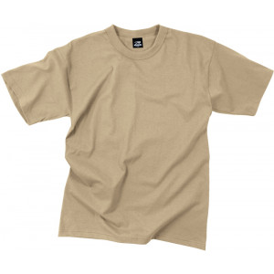 Khaki Poly/Cotton Plain Solid Military T-Shirt