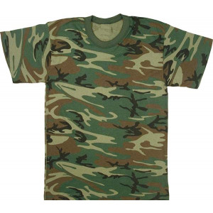 Woodland Camouflage Military Short Sleeve T-Shirt USA Made