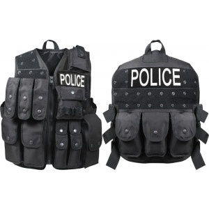 Black Law Enforcement Police Tactical Raid Vest