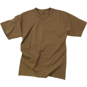 Brown Poly/Cotton Plain Solid Military T-Shirt