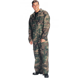 Woodland Camouflage Military Air Force Style Flight Suit Coveralls