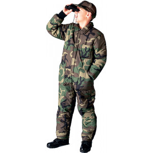 Woodland Camouflage Kids Cold Weather Insulated Coverall Jumpsuit