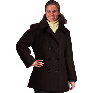 Womens Black Military US Navy Type Wool Peacoat