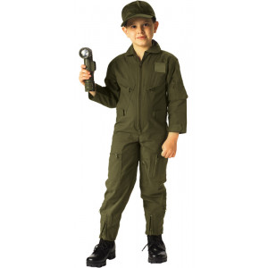 Kids Olive Drab US Air Force Style Military Costume Flight Suit