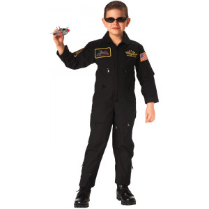 Kids Black Military Top Gun Patches US Air Force Flight Suit