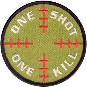 Olive Drab One Shot One Kill Patch With Hook Back