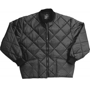 Black Military Nylon Diamond Quilted Flight Jacket