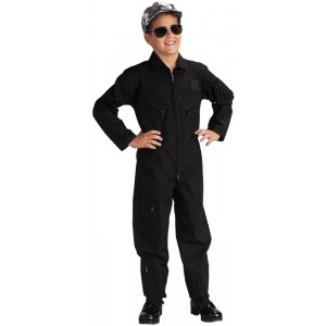 Kids Black US Air Force Style Military Costume Flight Suit