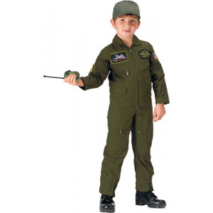 Kids Olive Drab Military Top Gun Patches US Air Force Flight Suit