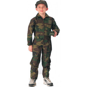 Kids Woodland Camouflage US Air Force Military Costume Flight Suit