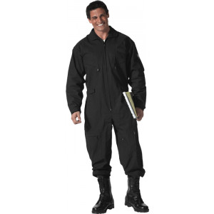 Black Military Air Force Style Flight Suit Coveralls