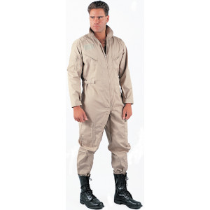 Khaki Military Air Force Style Flight Suit Coveralls