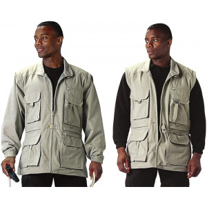 Khaki Convertible Safari Trailblazer Tactical Jacket/Vest