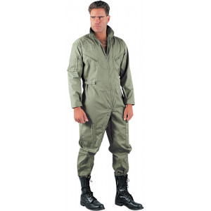 Foliage Green Military Air Force Style Flight Suit Coveralls