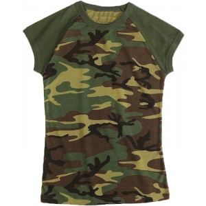 Woodland Camouflage Women's Short Sleeve Raglan Tactical T-Shirt