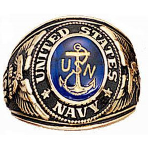 Gold US Navy USN Deluxe Engraved Ring