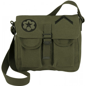 Olive Drab Canvas Military Ammo Shoulder Bag With Patches