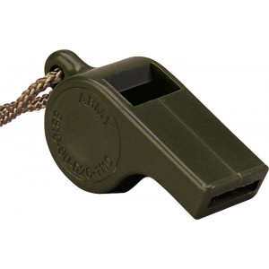 Olive Drab Plastic Police Whistle with Lanyard