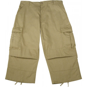 Khaki Military Capri Rip-Stop Fatigue BDU Pants