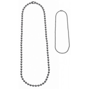 "Silver Military Dog Tag Chain Set (4.5"" & 24"")"
