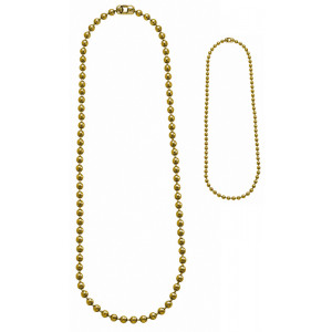 "Gold Military Dog Tag Chain Set (4.5"" & 24"")"