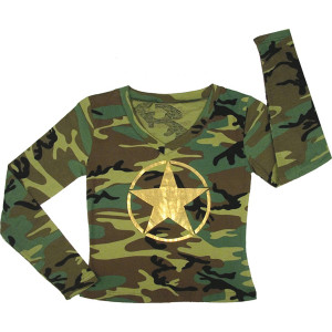 Woodland Camouflage Gold Foil Star Long Sleeve T-Shirt (Womens)