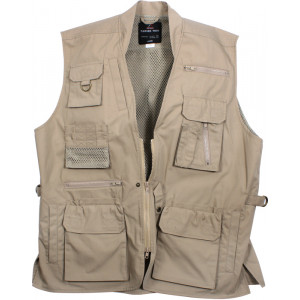 Khaki Multi-Pocket Cargo Tactical Concealed Carry Travel Vest