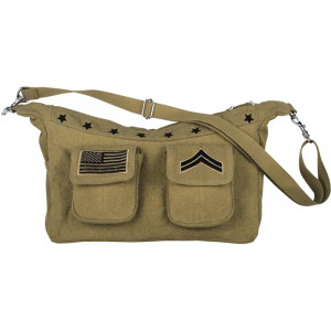 Khaki Vintage Military Single Strap Shoulder Bag With Patches