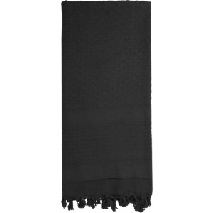 Black Solid Shemagh Heavyweight Arab Tactical Desert Keffiyeh Scarf
