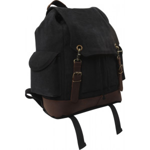 Black Vintage Military Expedition Rucksack Backpack Bag