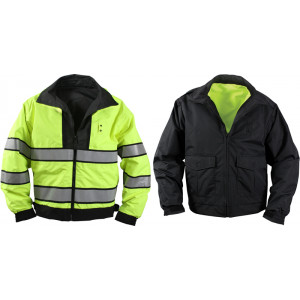 Black & Yellow Reversible Hi-Visibility Waterproof Uniform Jacket