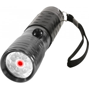 Gun Metal 8 LED Flashlight With Laser