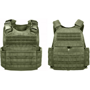 Olive Drab MOLLE Tactical Plate Carrier Assault Vest