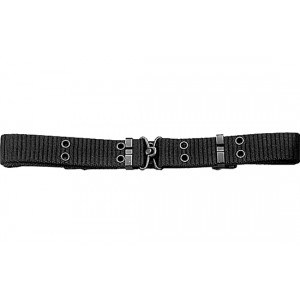Black Thin Mini Military Pistol Belt with Metal Buckle