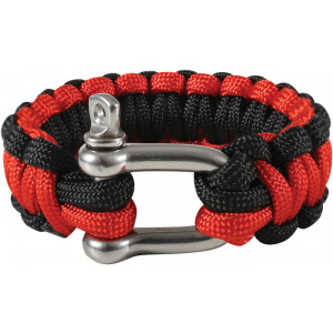Thin Red Line Cobra Survival Paracord Bracelet with D-Shackle