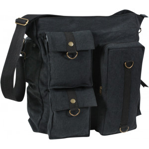 Black Vintage Military Multi Pocket Messenger Shoulder Bag