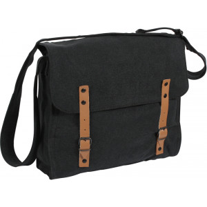 Black Vintage Military Canvas Medic Shoulder Bag