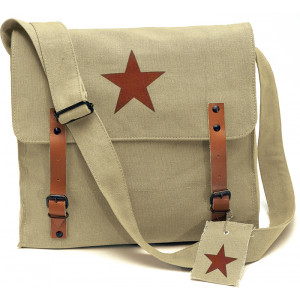 Khaki Vintage Red Star Canvas Shoulder Bag