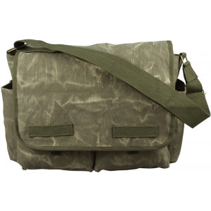Olive Drab Military Stone Washed Heavyweight Canvas Classic Messenger Bag