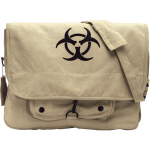 Khaki Vintage Military Bio-Hazard Canvas Tactical Paratrooper Bag